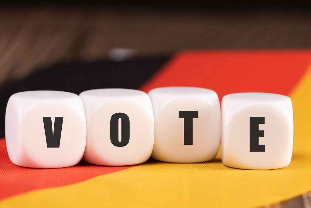 Cubes with Vote text on the flag of Germany