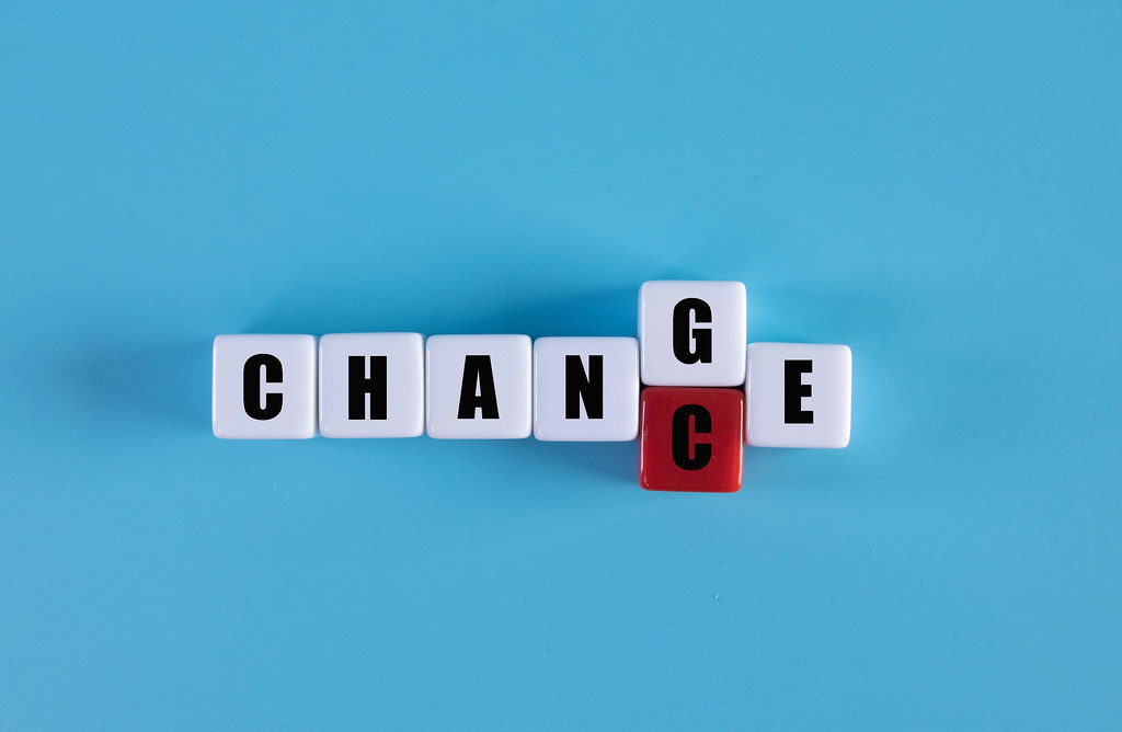 "Cubes with word ""change"" to ""chance"", Personal development and career growth or change yourself concept"