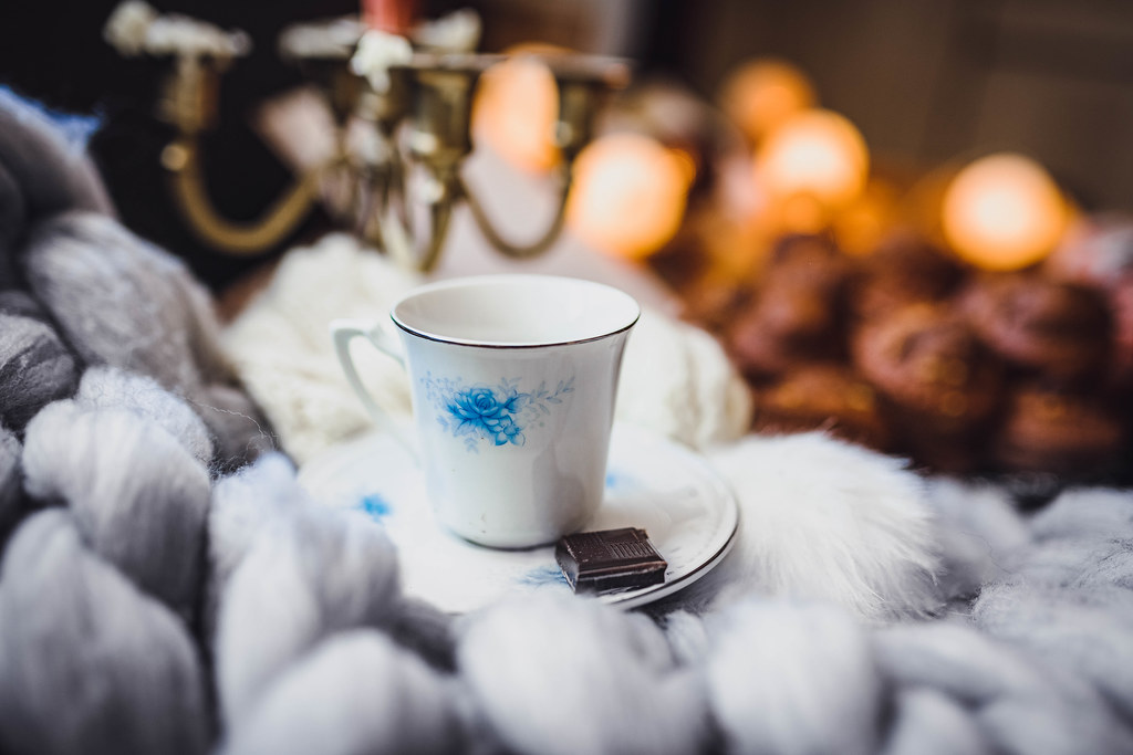 Cup Of Coffee And Piece Of Chocolate - Winter Hygge