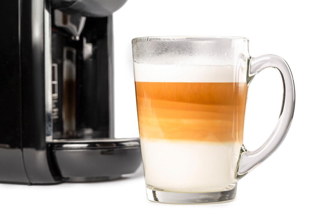 Cup of hot caramel latte macchiato