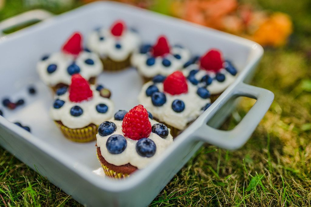 Cupcake Close Up With Rasberry And Blueberries