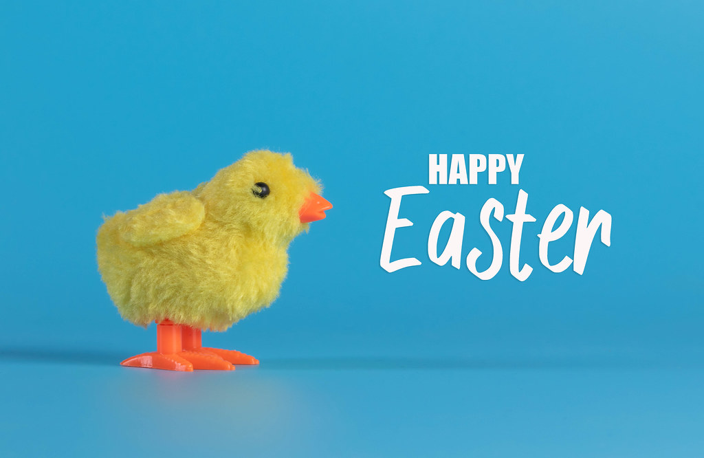 Cute little chicken with Happy Easter text on blue background
