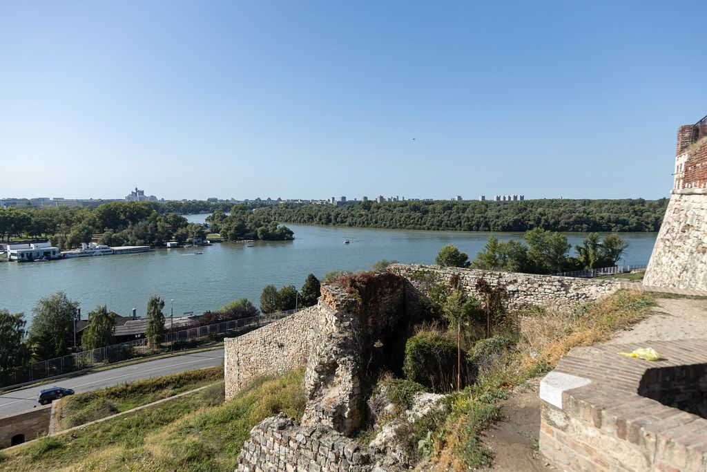 Danube river flows by Kalemegdan fort in the Belgrade