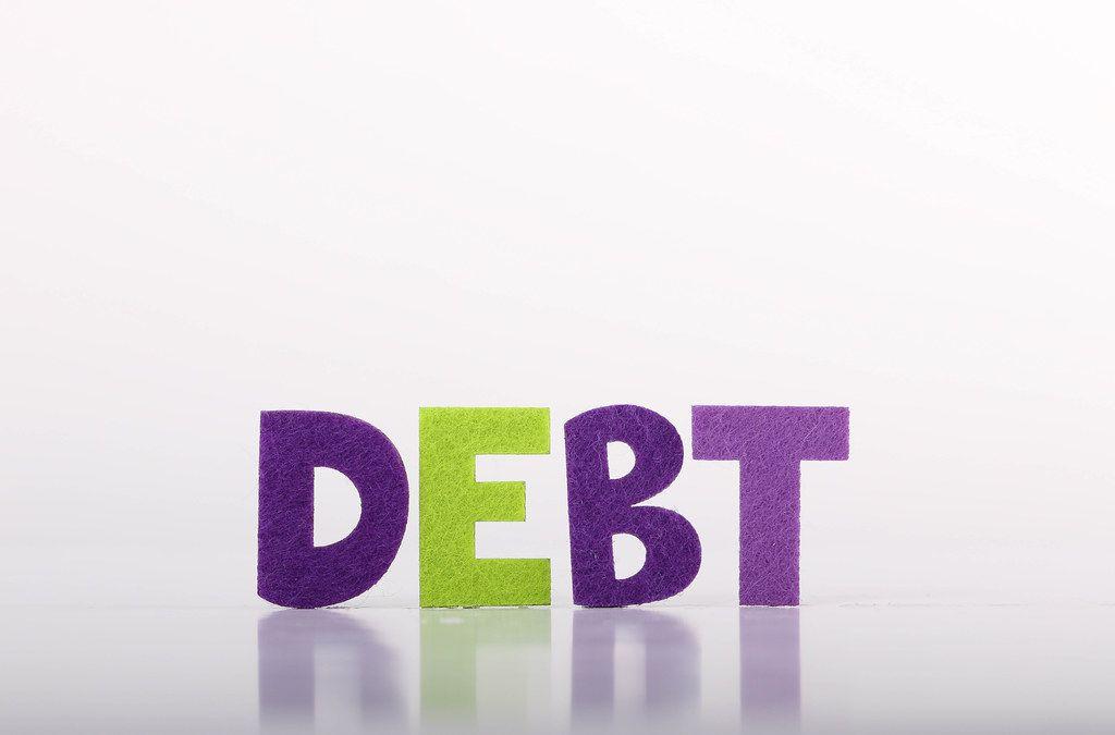 Debt text on white background