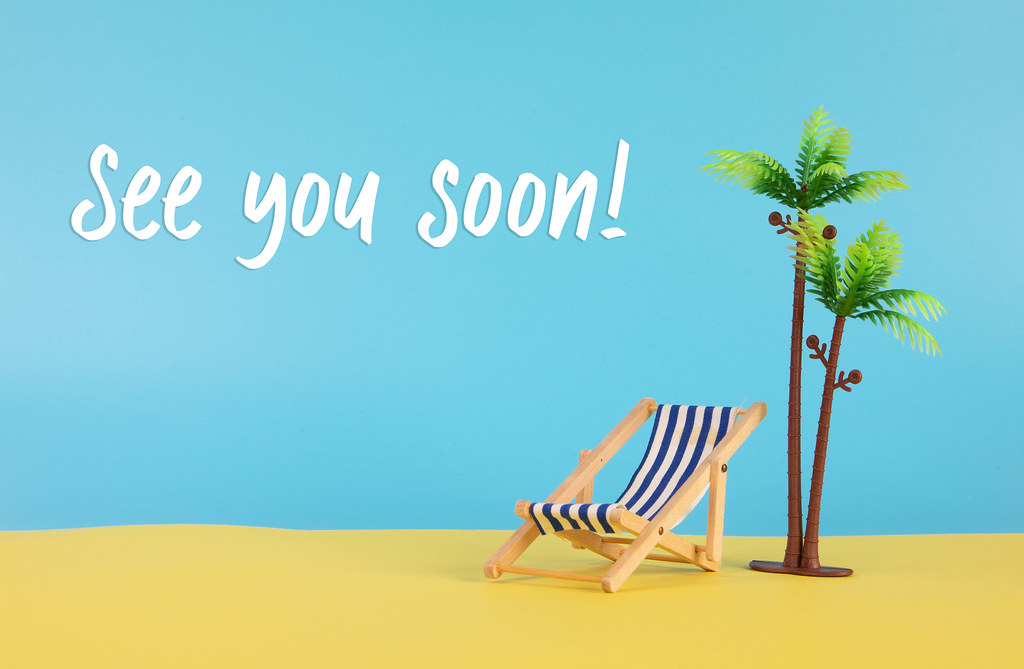 Deck chair, palm tree and See you Soon text
