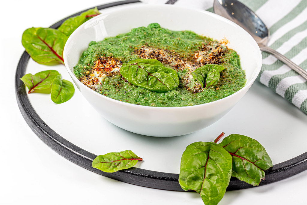 Delicious vegetable green soup puree
