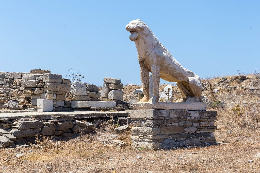 Delos, World Heritage Site: terrace of the lions with one of the famous statues dedicated to Apollo
