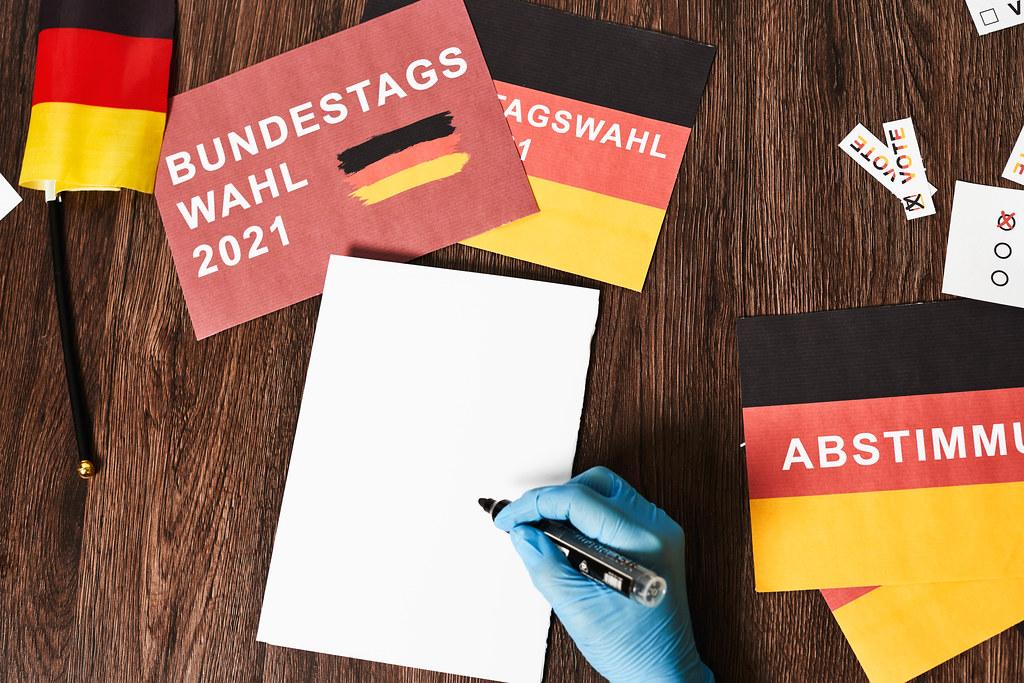 Deutschland: Bundestagswahl 2021 während der Corona-Pandemie. Hintergrund mit Platz für Text