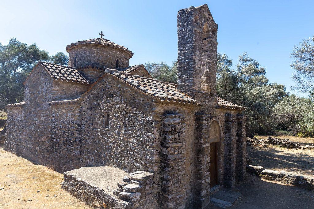 Die byzantinische Kirche vom Agios Georgios Diasoritis in der Nähe von Halki, Naxos, Kykladen