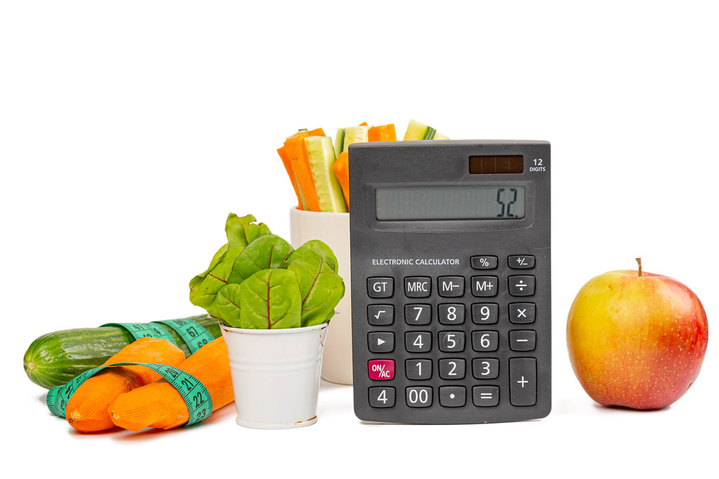 Diet food items with measuring tape and calculator