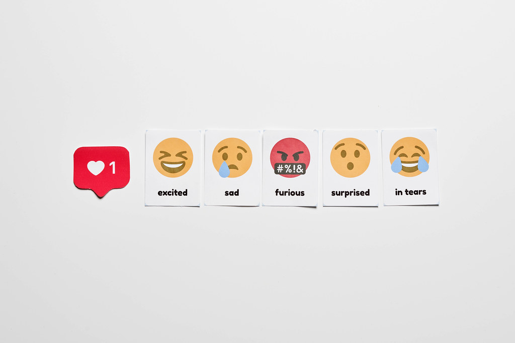 Different emoticon paper cuts from famous social media network