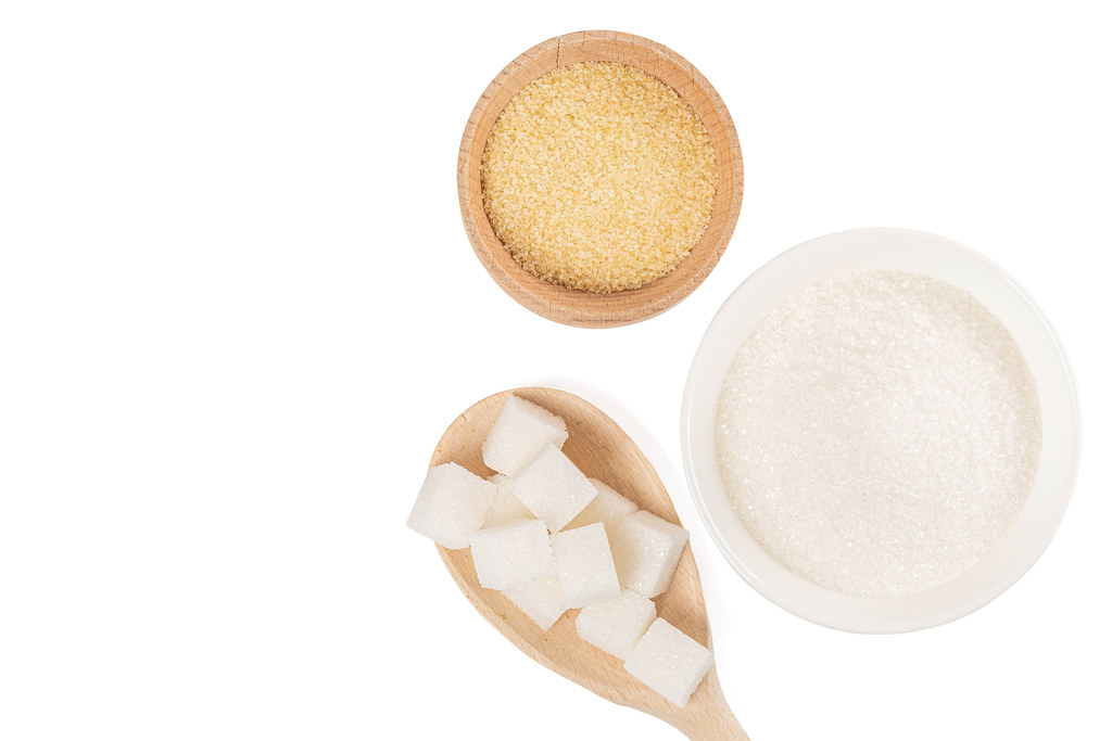 Different types of sugar - brown, white and refined sugar