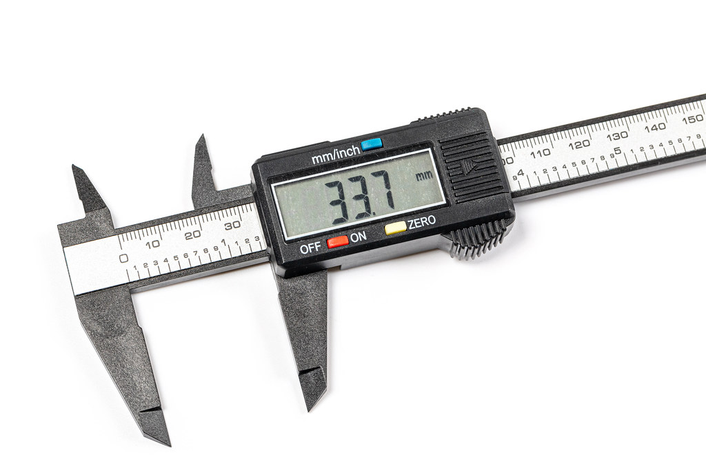 Digital electronic vernier caliper, close up