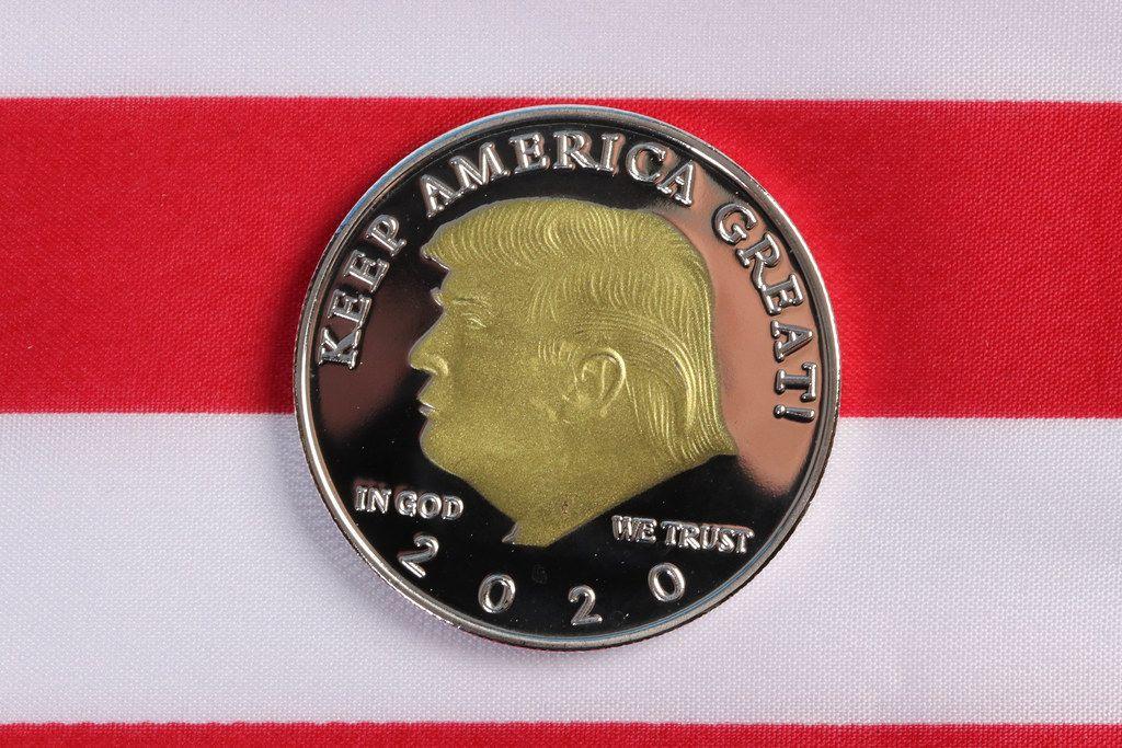 Donald Trump on a coin