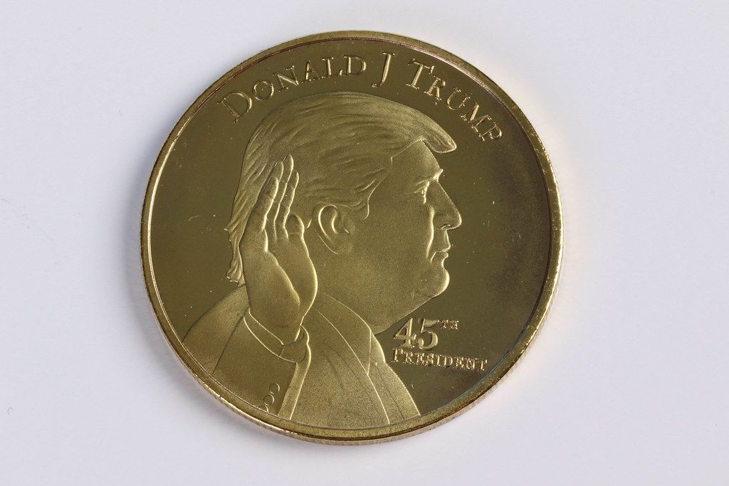 Donald Trump on a golden coin