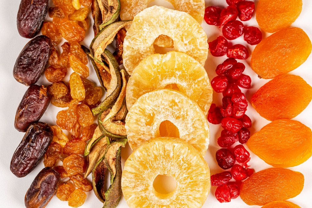Dried dates, raisins, pears, pineapples, cherries and apricots