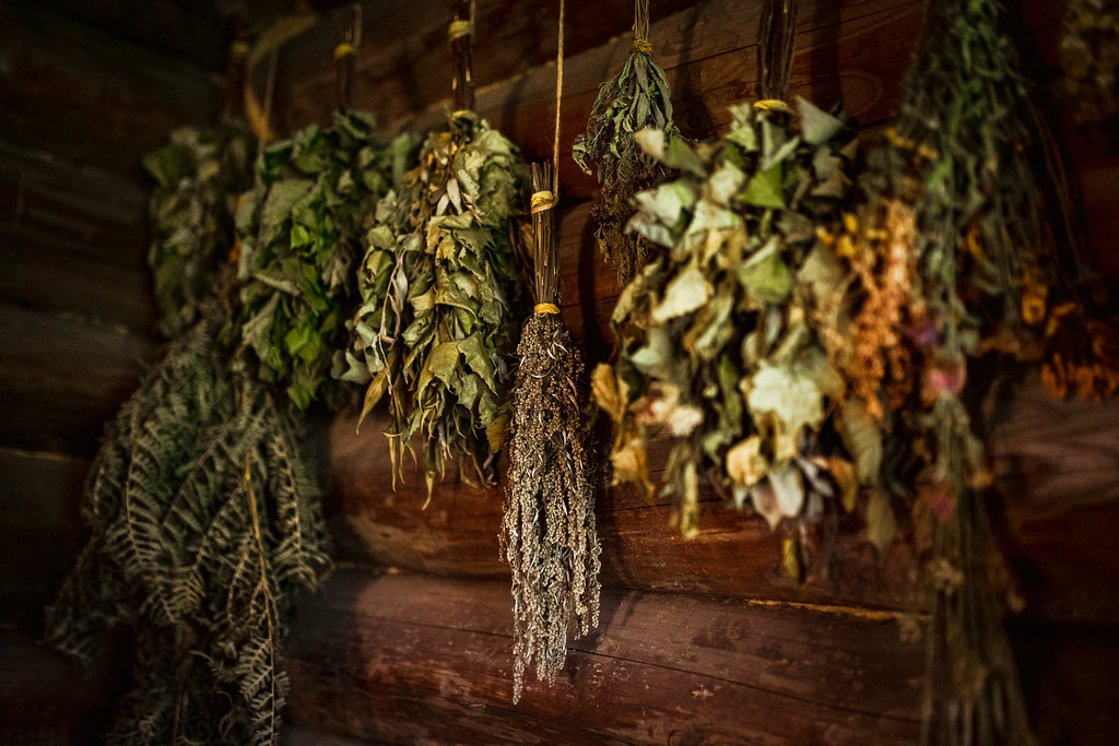 Dried Herbs And Brances Hanging In Sauna