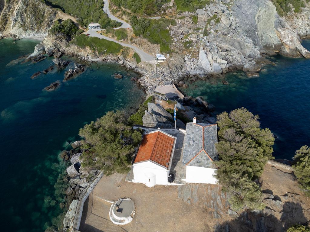Drone photo of Agios Ioannis sto Kastri, dedicated to Saint John. Chapel and monastery on the rocks