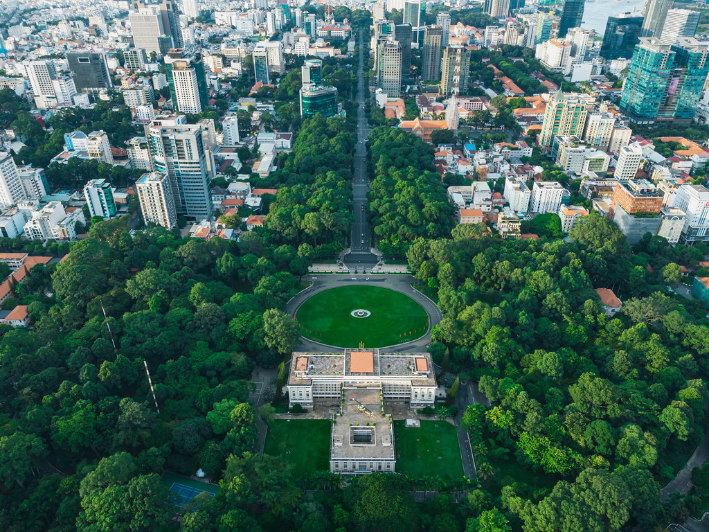 Drone Photo of Le Duan Street leading to the Independance Palace with Helicopter in District 1 in Ho Chi Minh City, Vietnam