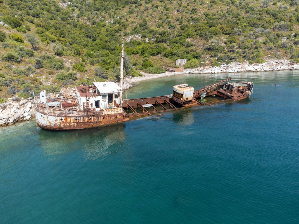 Drone photo of the Peristera shipwreck at the north of Kokkalia bay on the islet east of Alonnisos