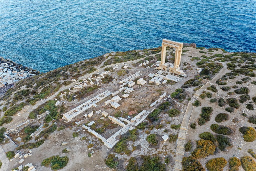 Drone photo of the Portara, the lintel of the unfinished temple of Apollo. Landmark of Naxos