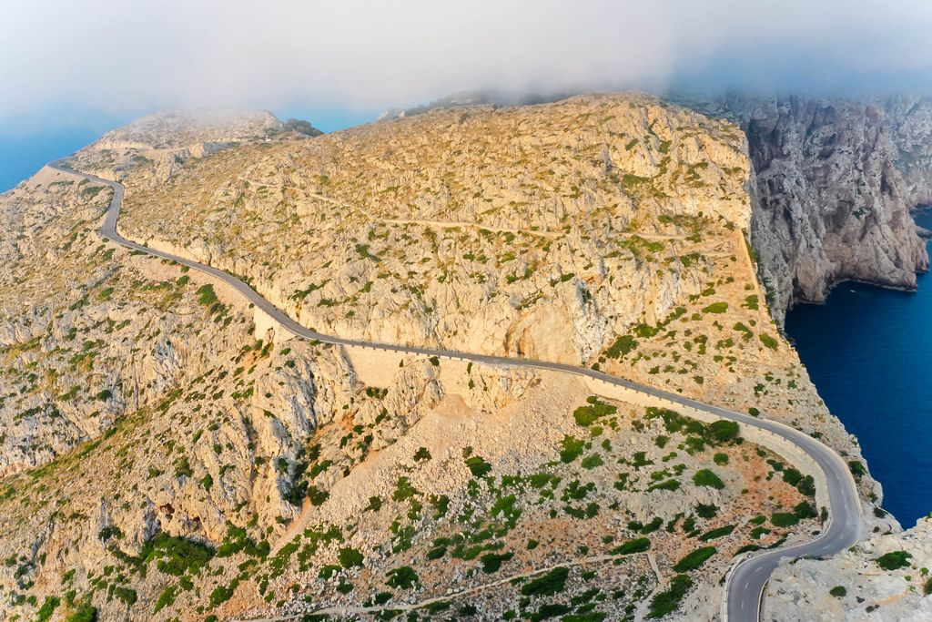 Drone photo of the road leading to the Formentor lighthouse on Majorca: an unforgettably scenic drive