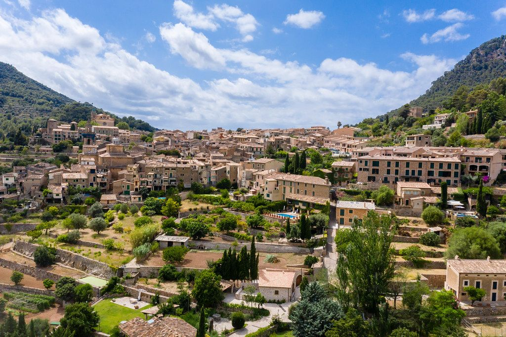 Drone photo of the village of Valldemossa, Mallorca, where Jorge Luis Borges and Frédéric Chopin lived