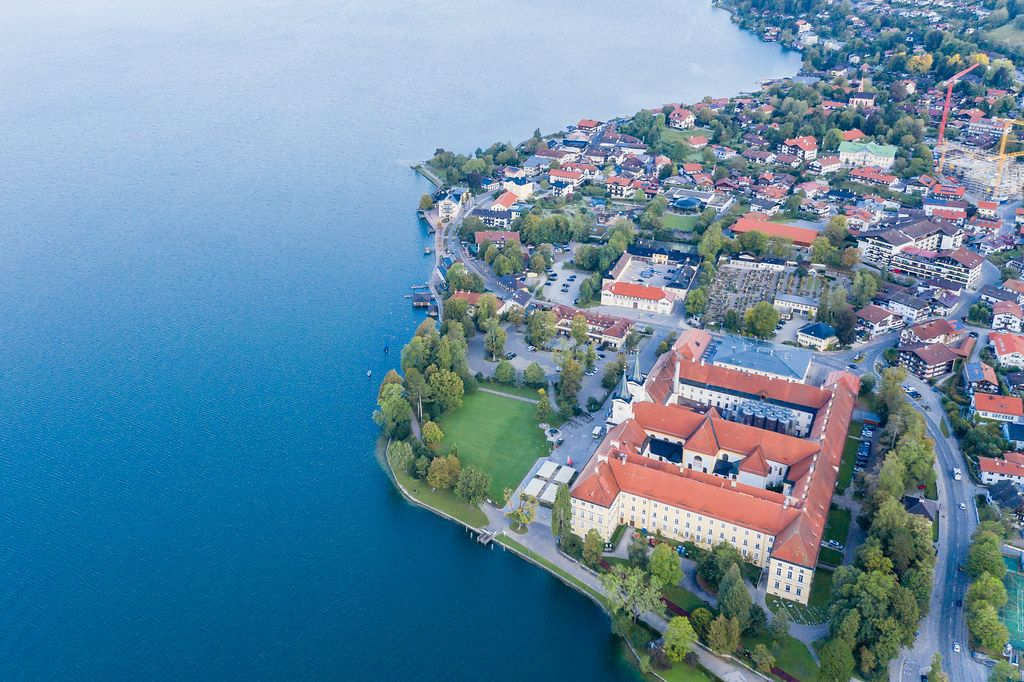 Drone photo with a view of Lake Tegernsee and the benedict monastery in the town of Tegernsee