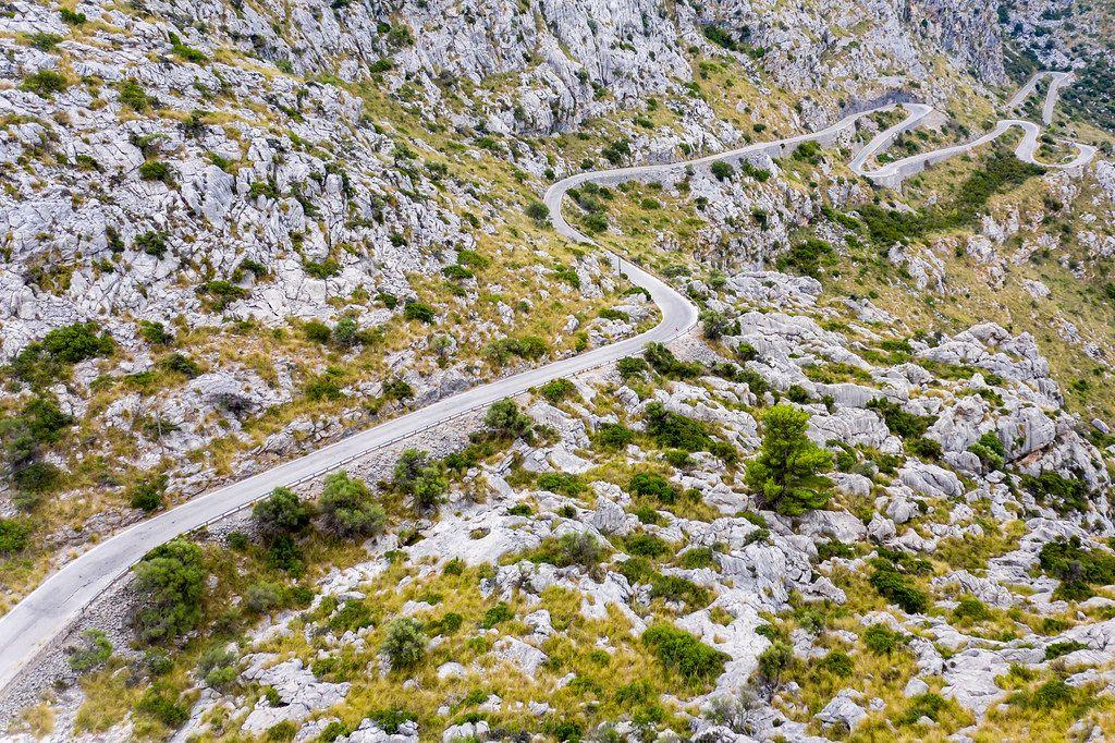 Drone pic: Carretera de Sa Calobra across the Serra de Tramuntana: Majorca