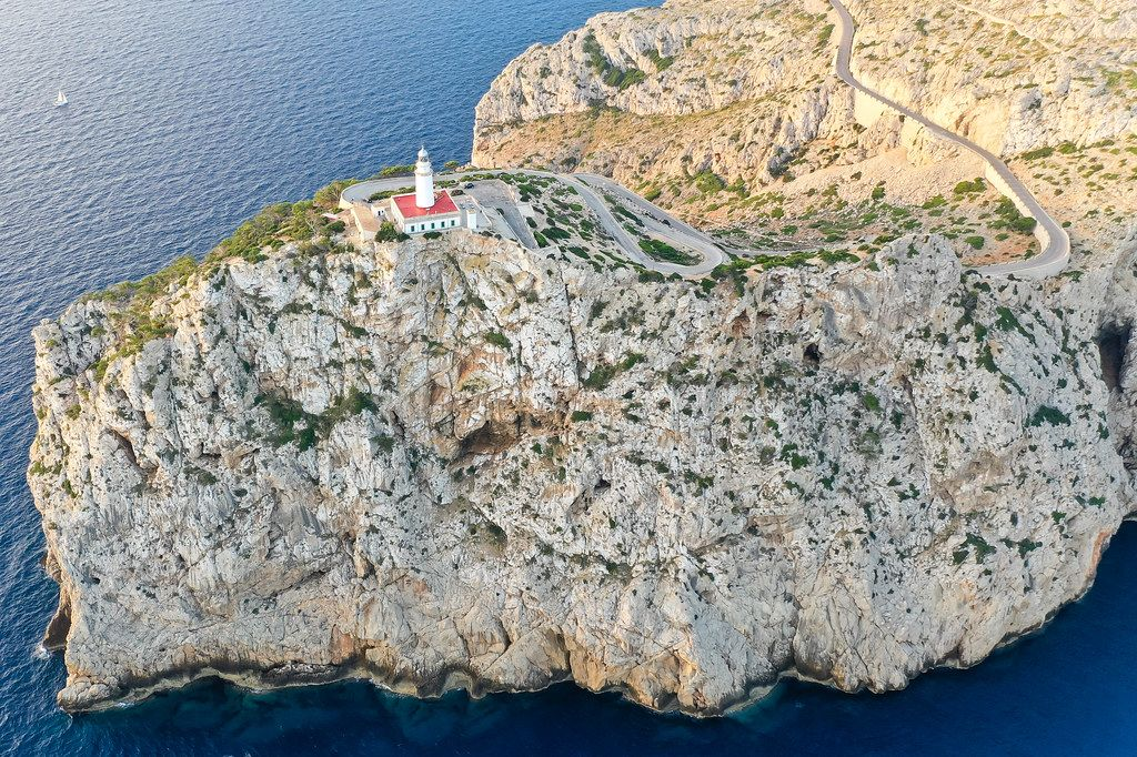 Drone pic. The steep cliffs of the northernmost tip of the Balearic islands: Cap de Formentor in Mallorca