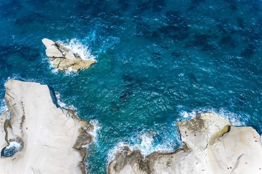 Drone picture of the Aegean Sea and the north coast of the Greek island of Milos in Sarakiniko