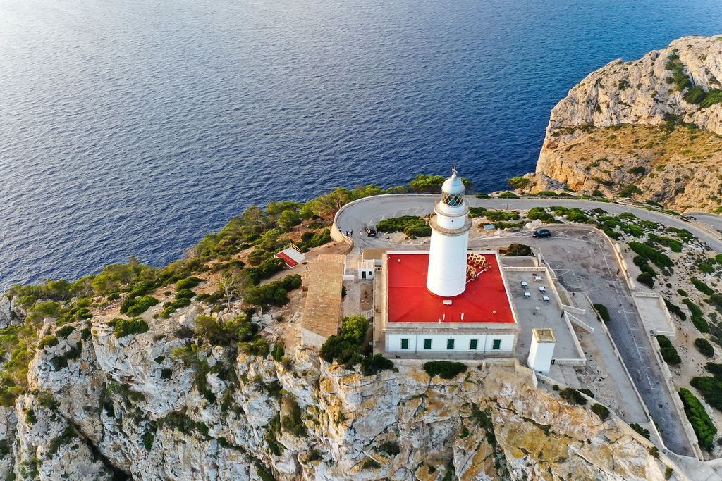 Drone shot of the Cap de Formentor lighthouse: one of the main places of interest on Majorca
