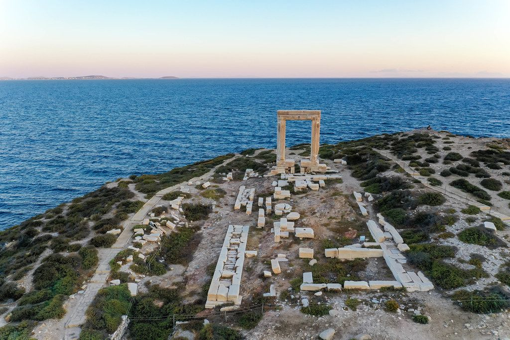 Drone shot. The monumental marble gate of the temple of Apollo on the Palátia islet, Naxos