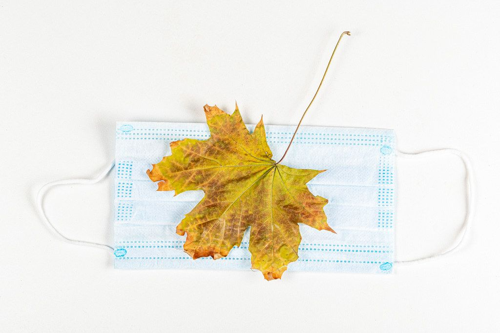 Dry maple leaf on a medical mask. The concept of autumn and quarantine