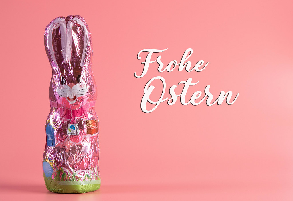 Easter chocolate bunny with Frohe Ostern text
