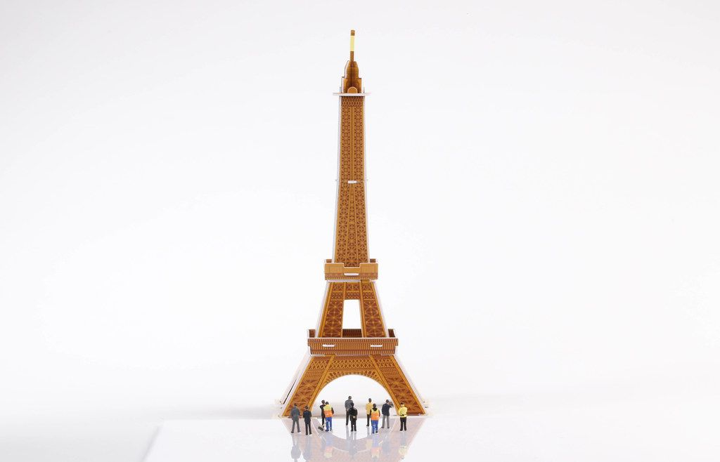 Eiffel Tower model building on white background