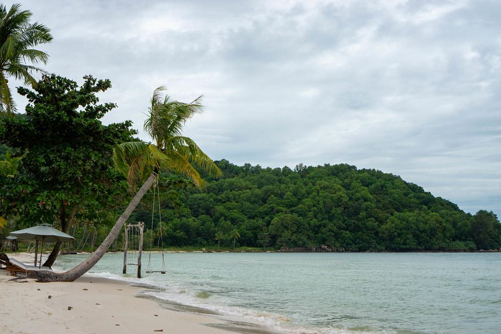 Eine Schaukel an einer schrägen Palme, Strandliegen und Sonnenschirme am Sao Beach auf der Insel Phu Quoc in Vietnam