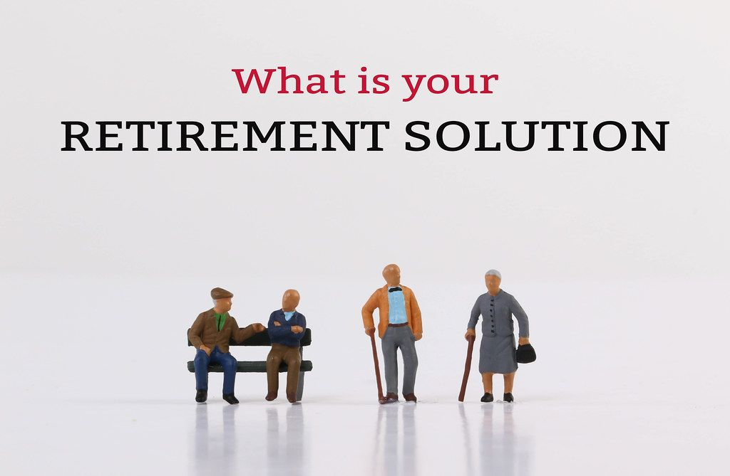 Elderly people with What is your retirement solution text