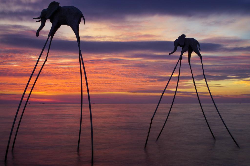 Elefanten auf Stelzen im Meer bei Sonnenuntergang auf der Insel Phu Quoc in Vietnam Langzeitbelichtung