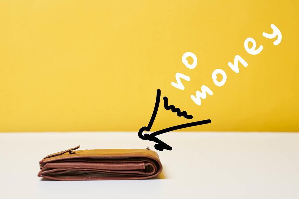 Empty wallet, no money