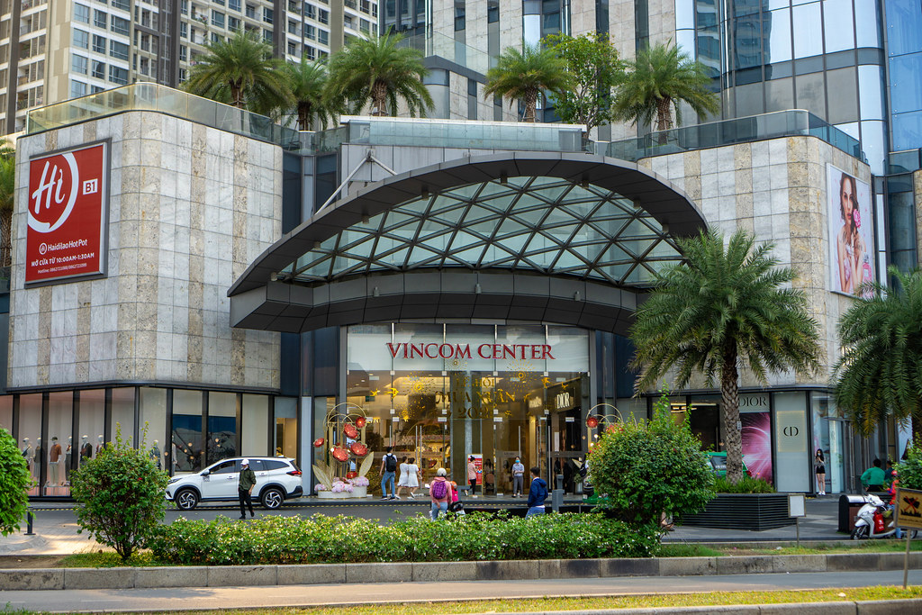 Entrance of Vincom Center Shopping Mall at Landmark 81 Skyscraper in Binh Thanh District of Ho Chi Minh City, Vietnam