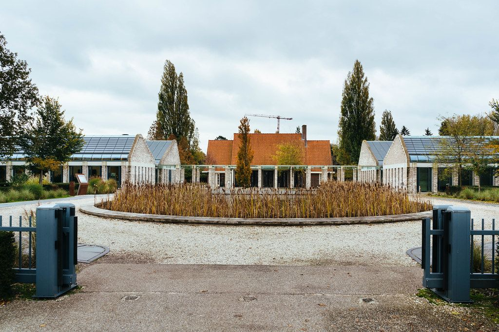 Entrance to the modern De Nieuwe Noorder cemetery in Amsterdam, Netherlands