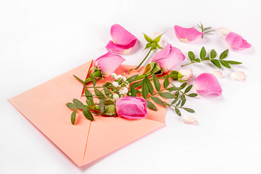 Envelope with rose flowers and petals, white background