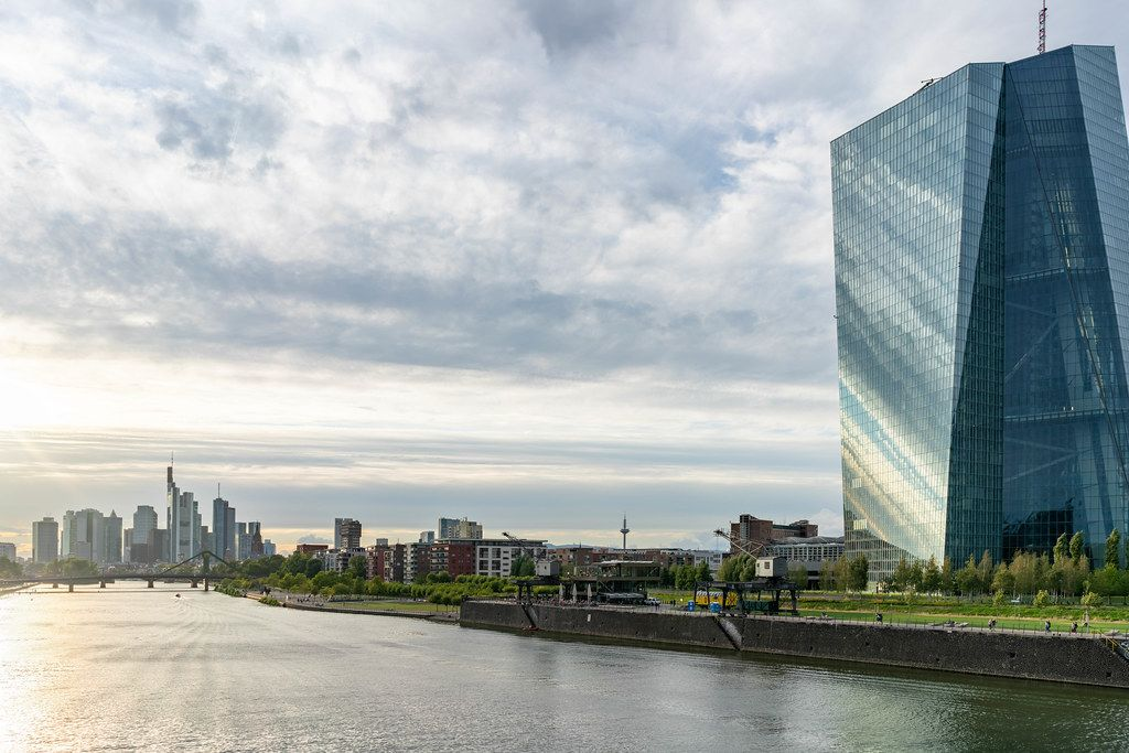 European Central Bank overlooking commercial banks in Frankfurt