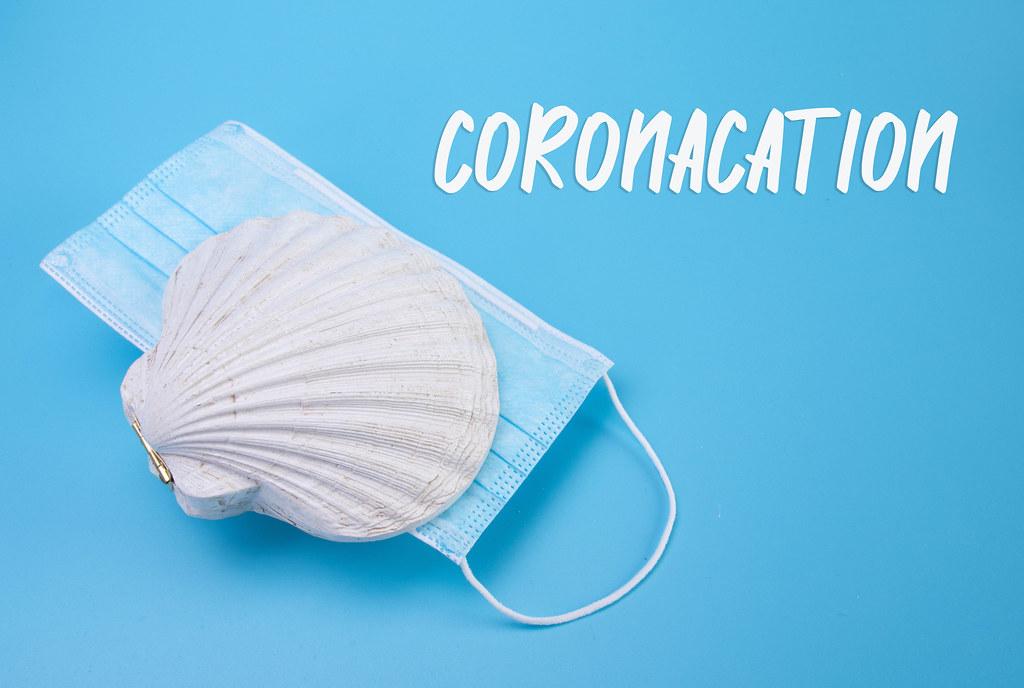 Face mask inside sea shell and Coronacation text