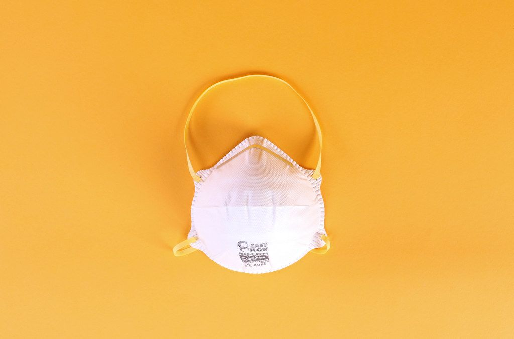 Face mask on a orange background