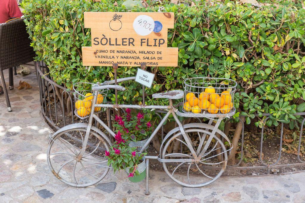 Fahrrad aus Metall mit Blumen in Töpfen und Orangen in Körben. Orangensaft und Eis