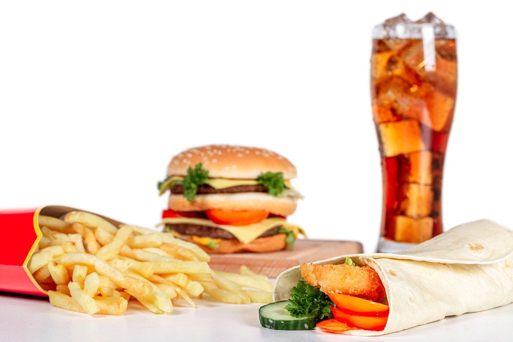 Fast food background - food from McDonald