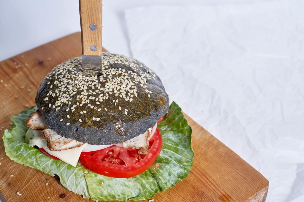 Fast food meal - Trendy black burger