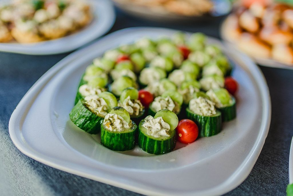 Filled Cucumber Slices With Cream And Grapes